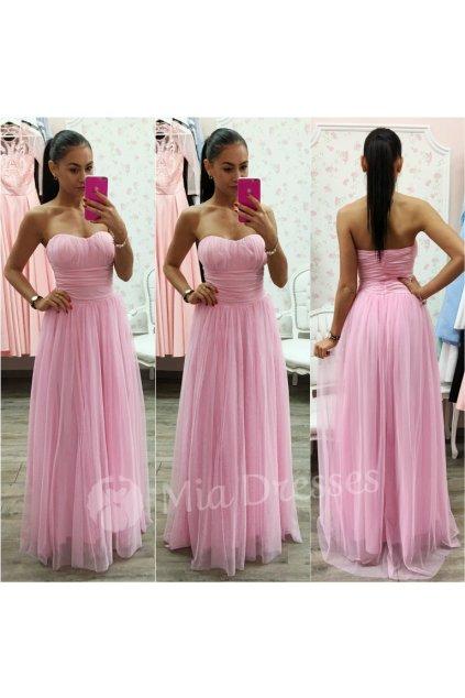 Ružové dlhé spoločenské šaty