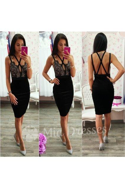 Čierne spoločenské šaty so zamatovou sukňou