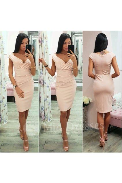 Telové krátke priliehavé šaty