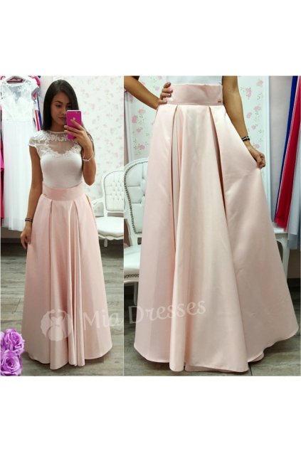 Staroružová dlhá saténová sukňa