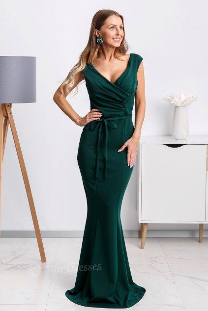 Smaragdové dlhé spoločenské šaty