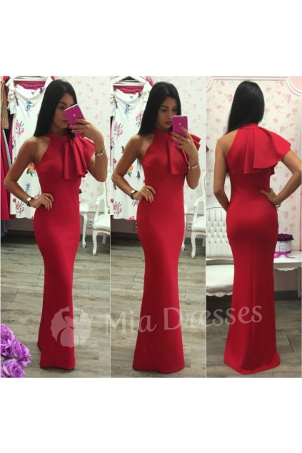 Červené spoločenské šaty s volánom