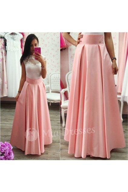Broskyňová dlhá saténová sukňa