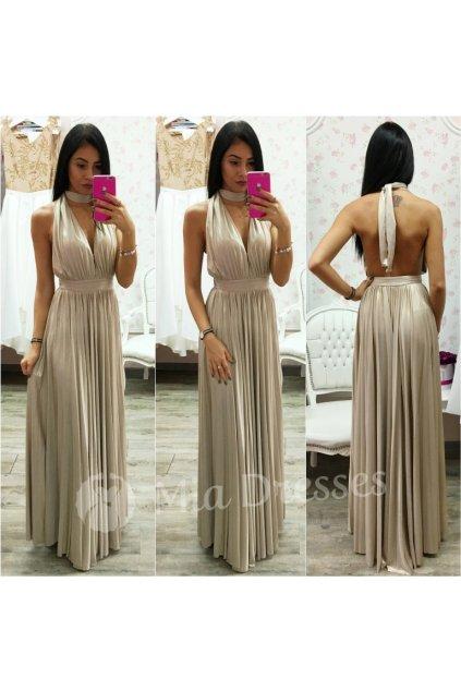 Zlaté spoločenské šaty s plisovanou sukňou