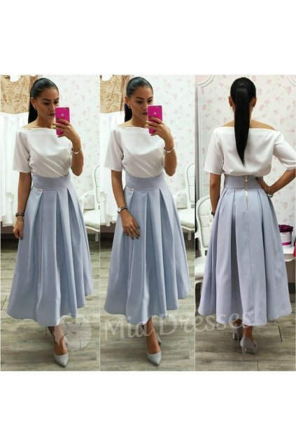 Sivá áčková midi sukňa