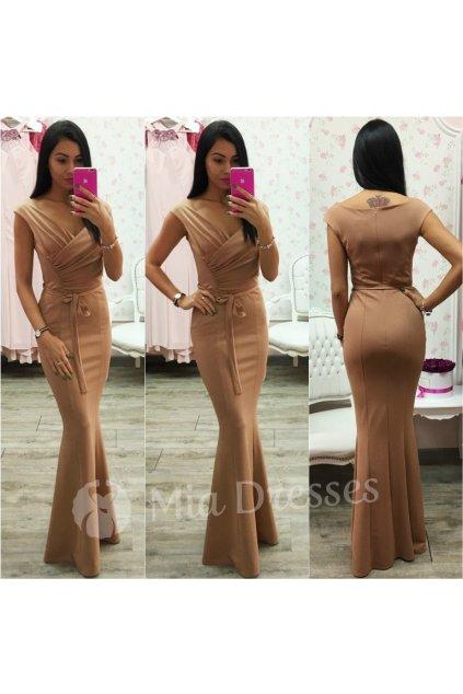 Hnedé dlhé spoločenské šaty