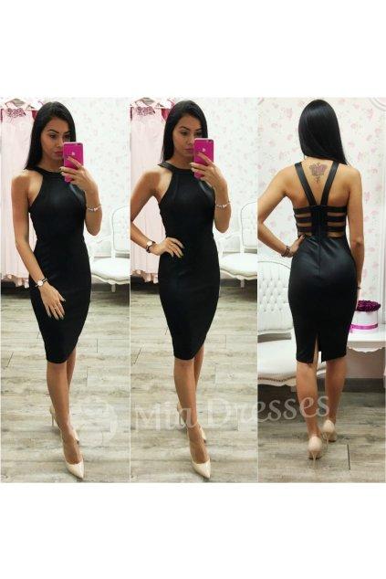 Čierne midi šaty s pásmi na chrbte
