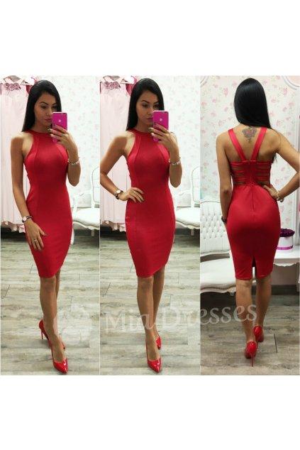Červené midi šaty s pásmi na chrbte