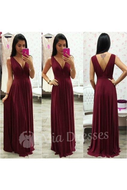 Bordové spoločenské šaty s plisovanou sukňou