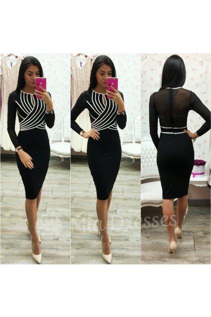 Čierne šaty s bielymi pásmi