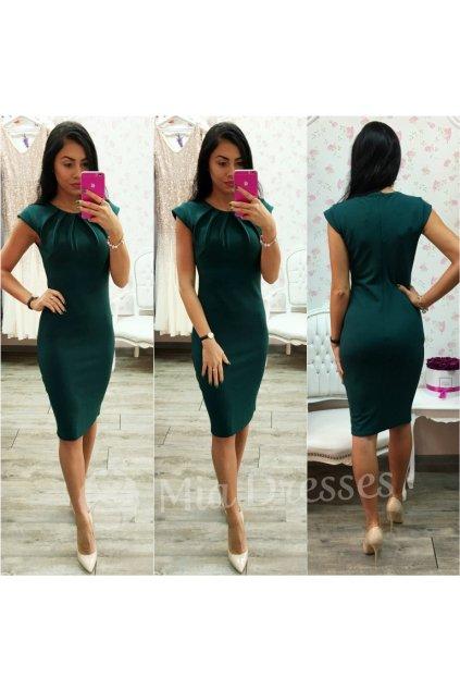 Smaragdové priliehavé midi šaty