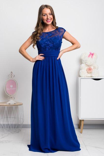 Modré šifónové spoločenské šaty