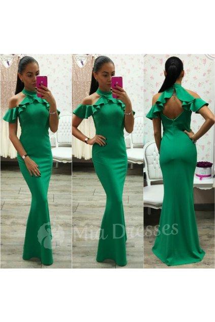 Zelené spoločenské šaty s volánom