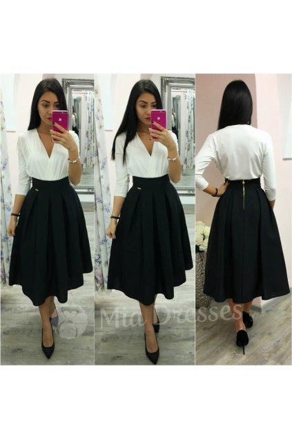 Čierna áčková midi sukňa