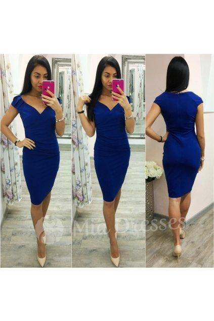 Modré krátke šaty s výstrihom