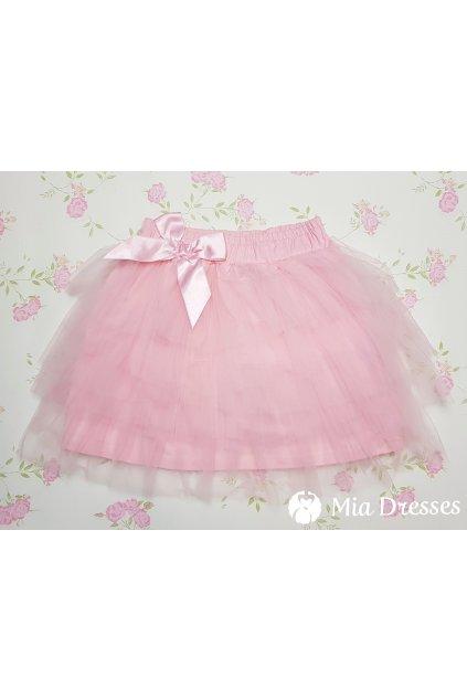 Ružová detská tylová sukňa