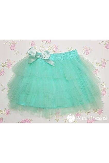 Mentolová detská tylová sukňa