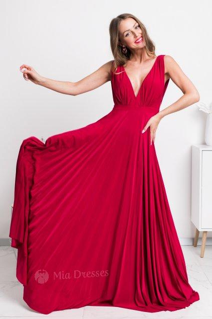 Červené spoločenské šaty s plisovanou sukňou