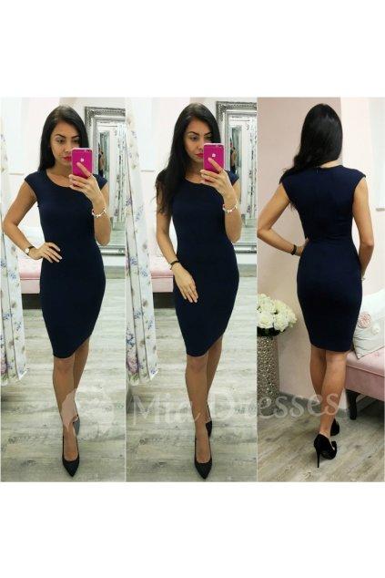 Tmavomodré priliehavé šaty