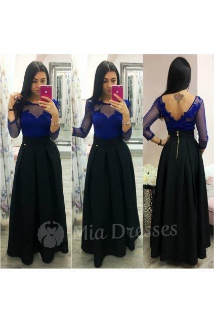 Čierna dlhá skladaná sukňa