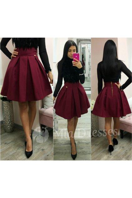 Bordová áčková mini sukňa