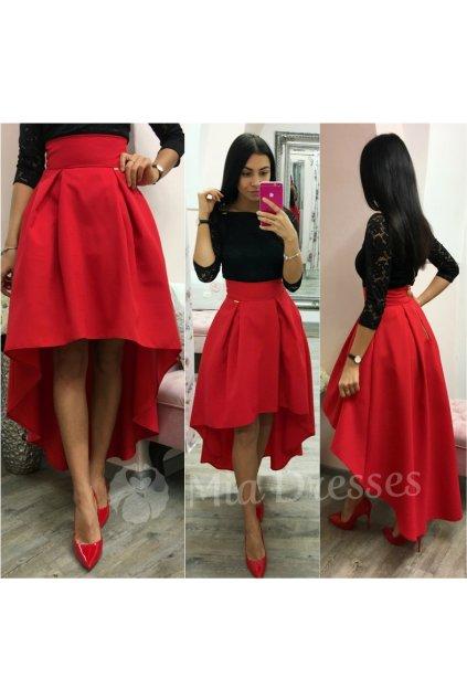 Červená asymetrická skladaná sukňa