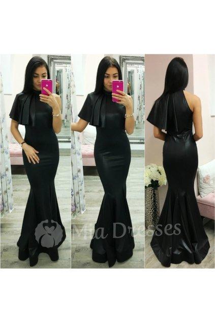 Čierne spoločenské šaty s volánom