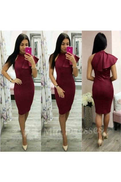 Bordové midi šaty s volánom
