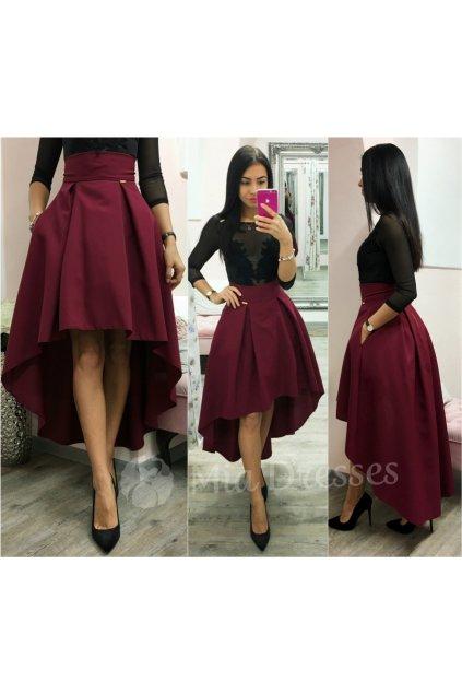 Bordová asymetrická skladaná sukňa
