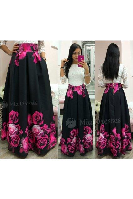 Čierna dlhá kvetinová sukňa