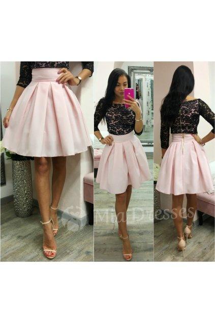Svetloružová áčková mini sukňa
