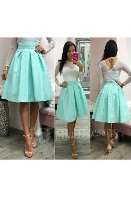 Mentolová áčková krátka sukňa
