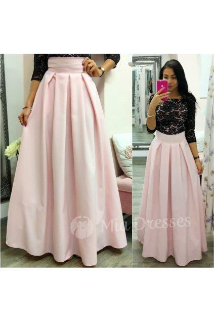 Svetloružová dlhá skladaná sukňa