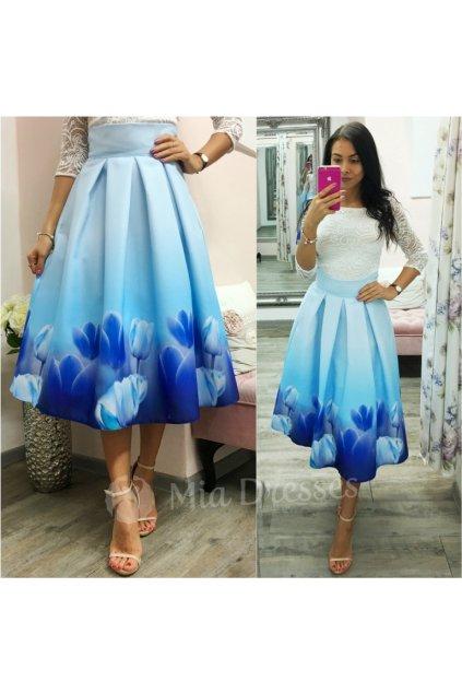 Svetlomodrá kvetinová midi sukňa