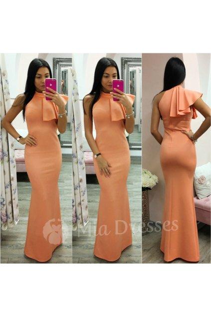 Oranžové spoločenské šaty s volánom