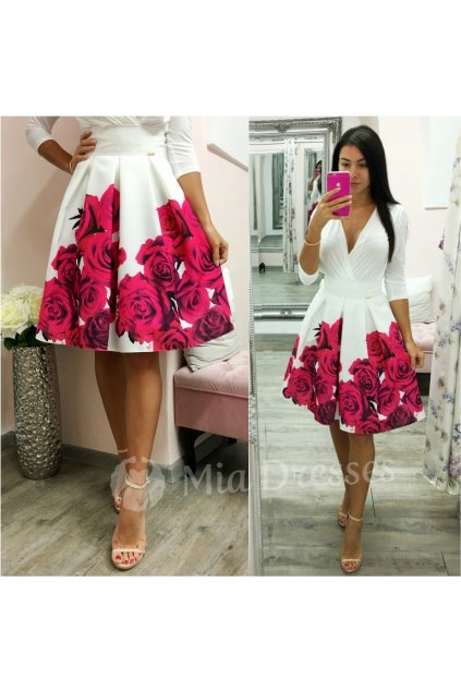 Smotanová kvetinová krátka sukňa