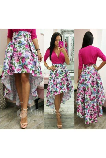 Farebná kvetinová asymetrická sukňa