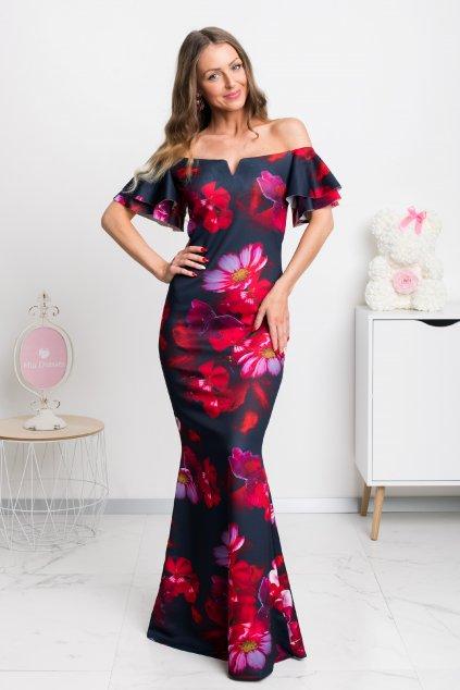 Červeno-modré spoločenské kvetinové šaty