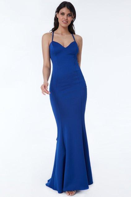 Modré spoločenské šaty s mohutným volánom