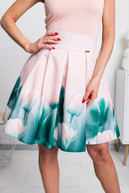 Púdrová kvetinová mini sukňa