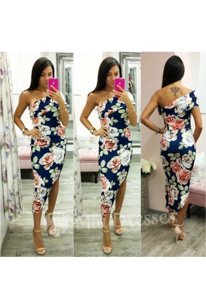 Tmavomodré kvetinové asymetrické šaty
