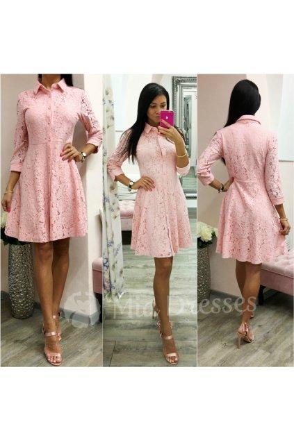 Ružové košeľové šaty s čipkou