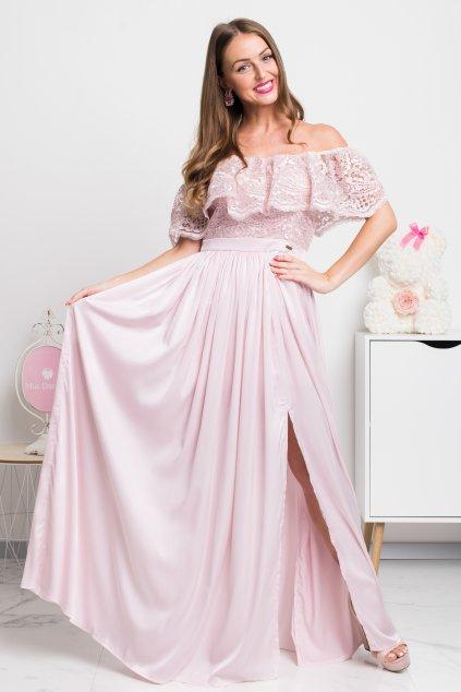 Svetloružové spoločenské šaty s krajkou