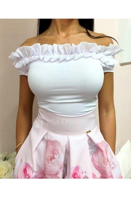 Biely top spustený na ramená