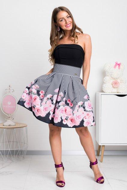 Pásikavá mini sukňa s kvetinami