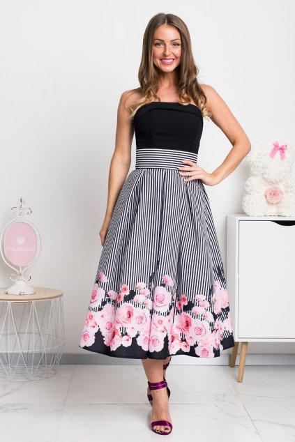 Pásikavá midi sukňa s kvetinami