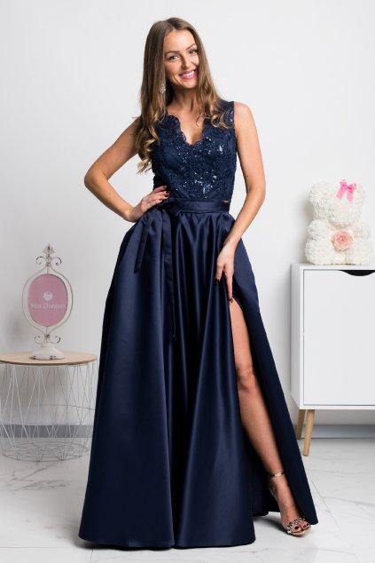 Tmavomodré spoločenské šaty so saténovou sukňou