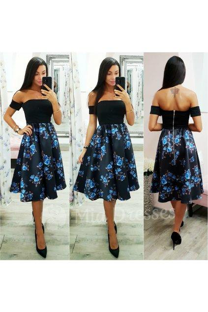 Čierno-modré kvetinové midi šaty