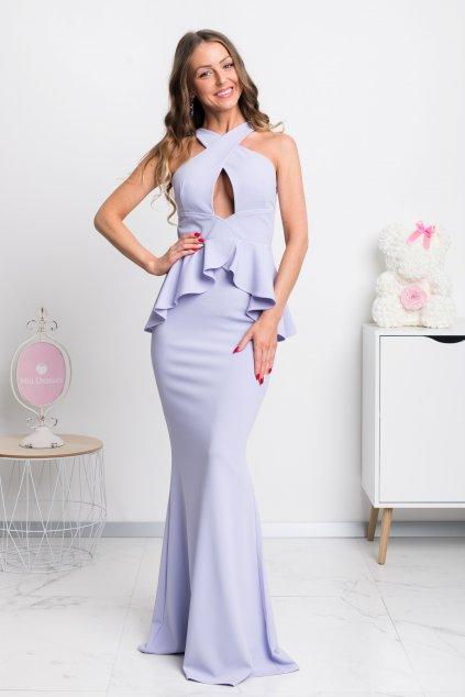 Fialové spoločenské peplum šaty