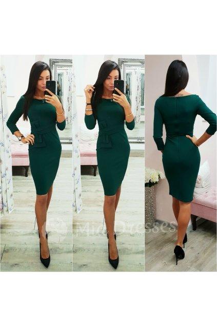 Smaragdové midi šaty s rukávmi